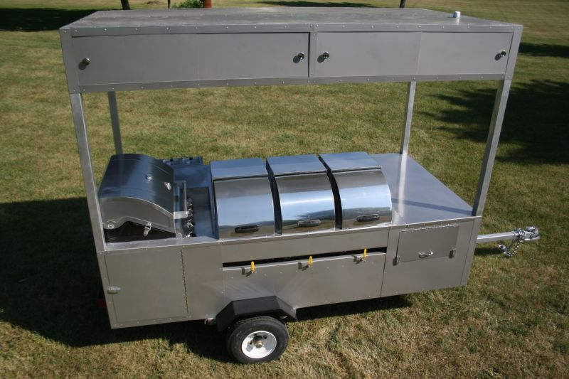 Professional Hot Dog Cart Stainless Grill 4 Sinks 9