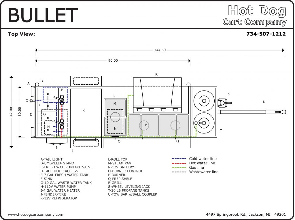 Bullet Hot Dog Cart Upper View Schematic