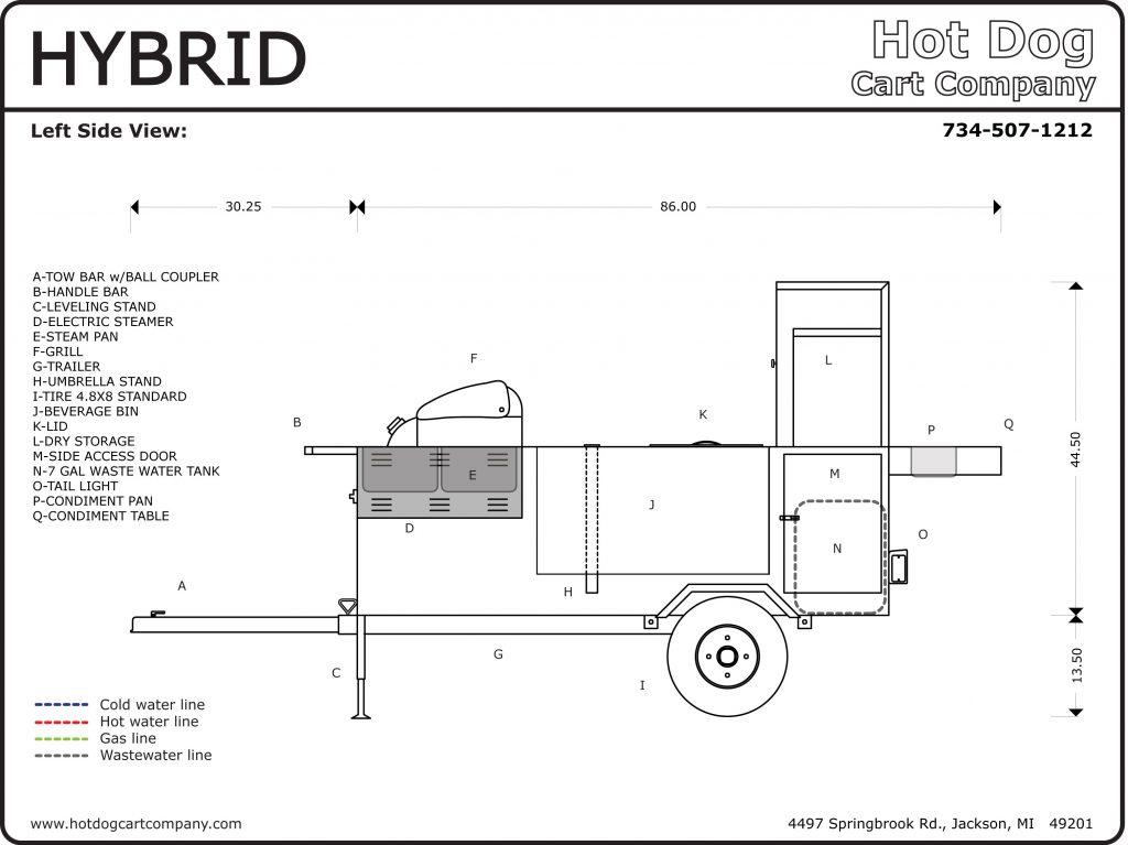 Hybrid Hot Dog Cart Left Side Schematic