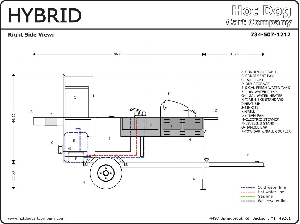 Hybrid Hot Dog Cart Right Side Schematic