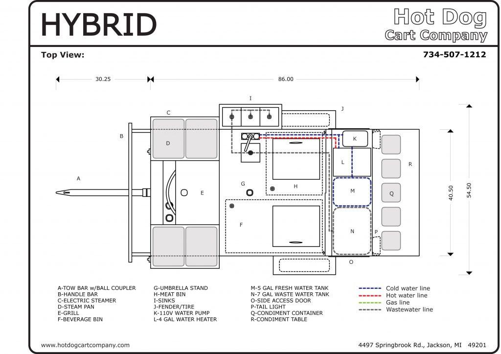 Hybrid Hot Dog Cart Upper View Schematic