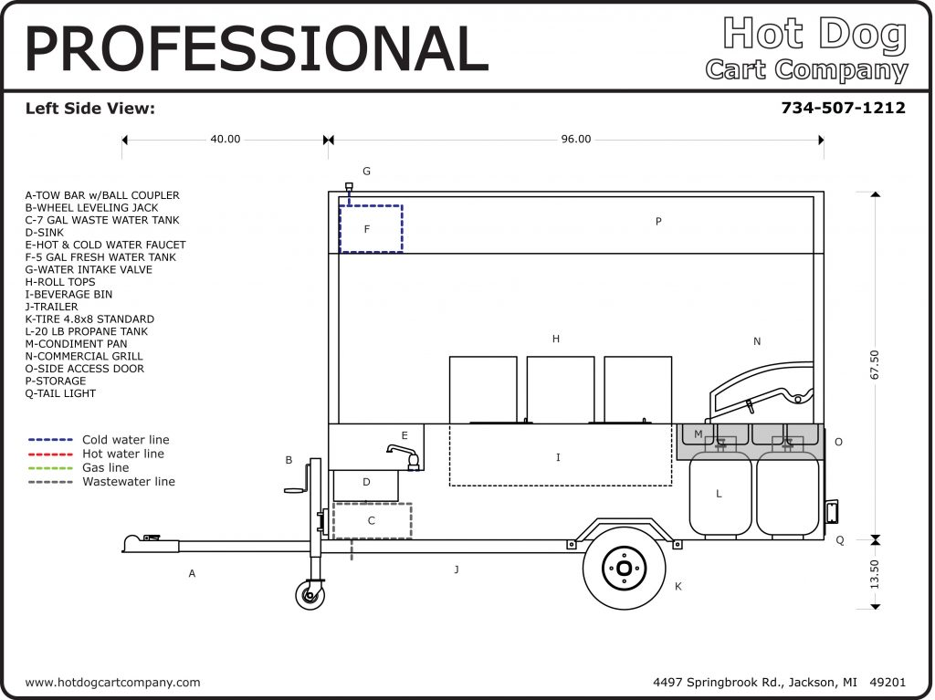 Professional Hot Dog Cart Left Side Schematic
