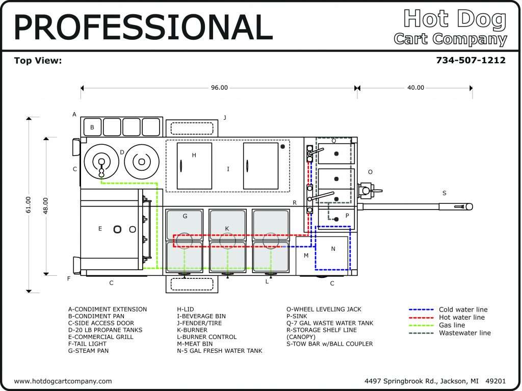Professional Hot Dog Cart Upper View Schematic