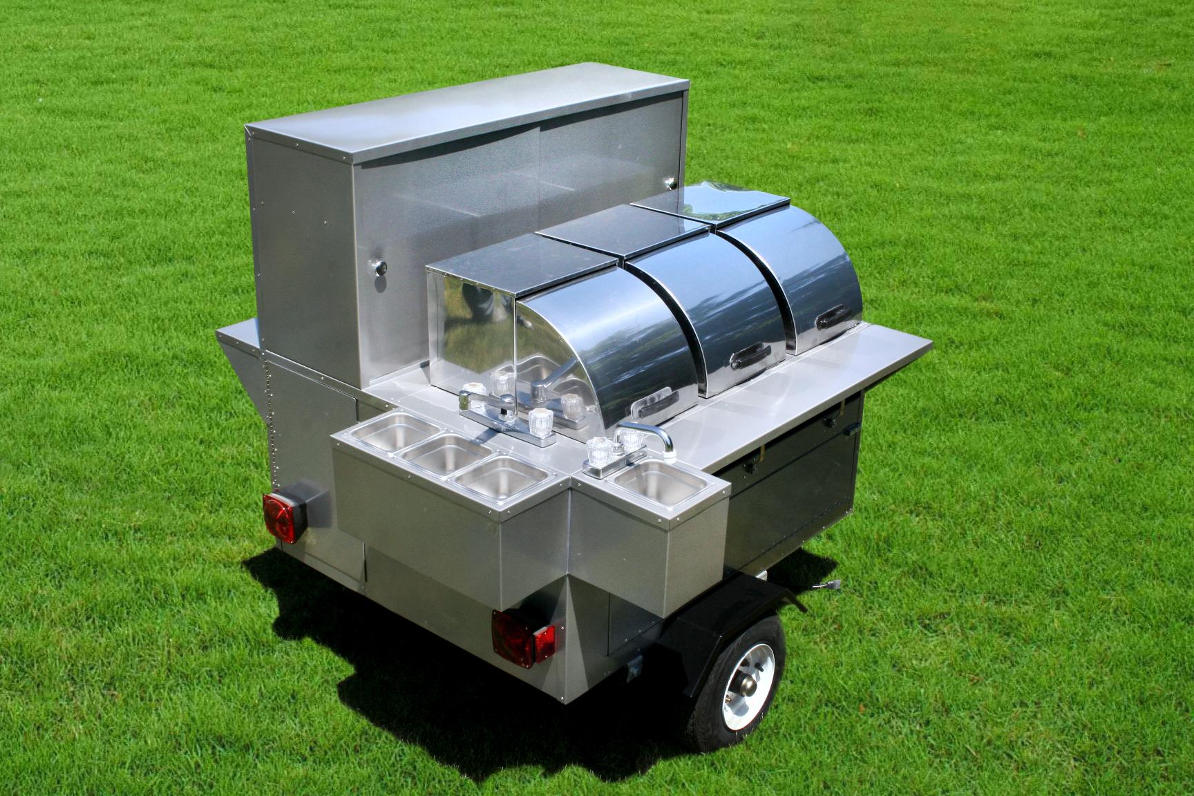 Lightning Bolt Hot Dog Cart 3 Steam Tables Sinks